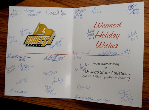 Holiday card from the women's hockey team.