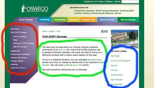 A sample oswego.edu page.