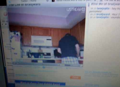 The one and only Brad J. Ward provided a live video stream of making waffles.