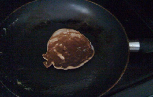 By the second pancake, the mix was better, but all that multitasking meant they came out a tad burned.
