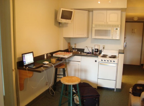 Fig. B: A kitchenette ... with a second TV!