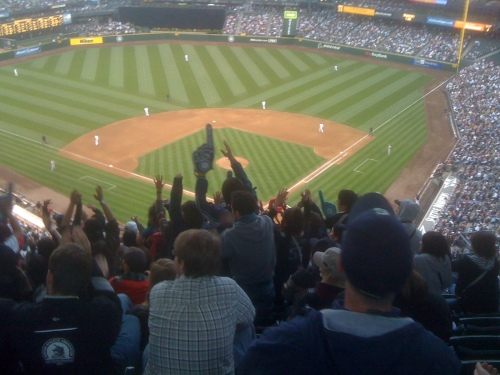 The crowd gets hyped as Ichiro comes to bat.