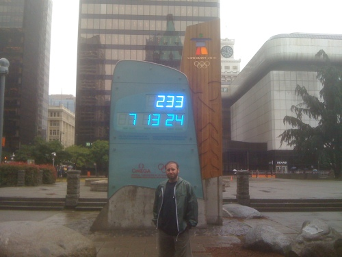 The Olympic Countdown Clock is a regular tourist stop, but Vancouverites seem ambivelant about the 2010 games.