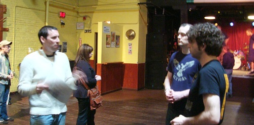 From left, Colin, our new friend Travis from Canton and Matthew Good's guitarist Stu Cameron talking after the soundcheck.