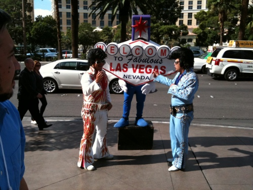 Two Elvi and a Las Vegas sign