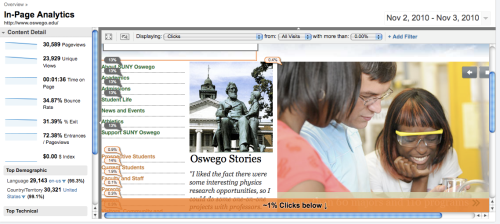 Screen capture of Oswego home page