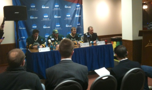 The Lakers and Coach Ed Gosek meet the press after their loss. With the emotion so raw, I opted not to tweet this image.