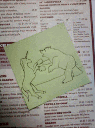 A unicorn boxing a bear, or why Chad Frierson from Austin's Pizza is awesome.