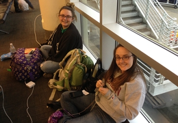 Erin Supinka and Ma'ayan Plaut making the New Orleans airport more awesome.