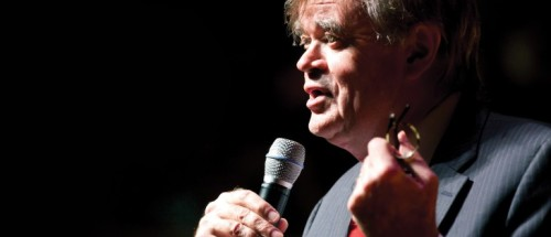 Garrison Keillor in his natural habitat (photo from prairiehome.org).