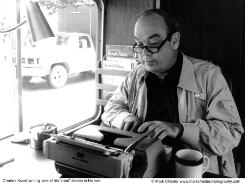 Charles Kuralt on his typewriter