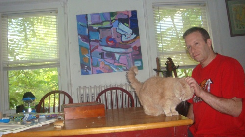 The author and cat with some scratching and purring