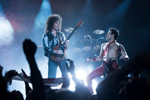 Queen on stage as portrayed in Bohemian Rhapsody