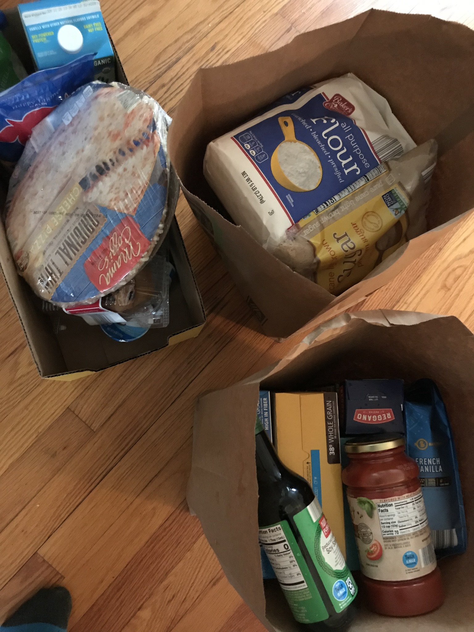 Three packages of groceries
