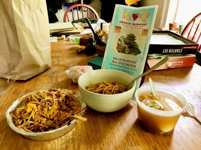 Chinese food -- pork fried rice, pork